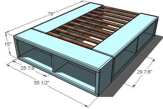 DIY Platform bed frame with storage. With our little house we need this for all the bedrooms!