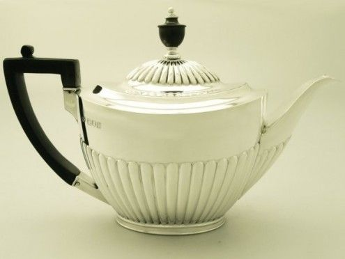 Sterling Silver Teapot Queen Anne Style Antique Edwardian