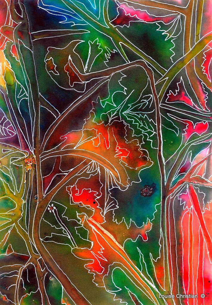 https://flic.kr/p/RLMEDw | ''TROPICALE'' ABSTRACT PAINTING | ABSTRACT ''TROPICALE''  Gel Pen & Brusho Experiment
