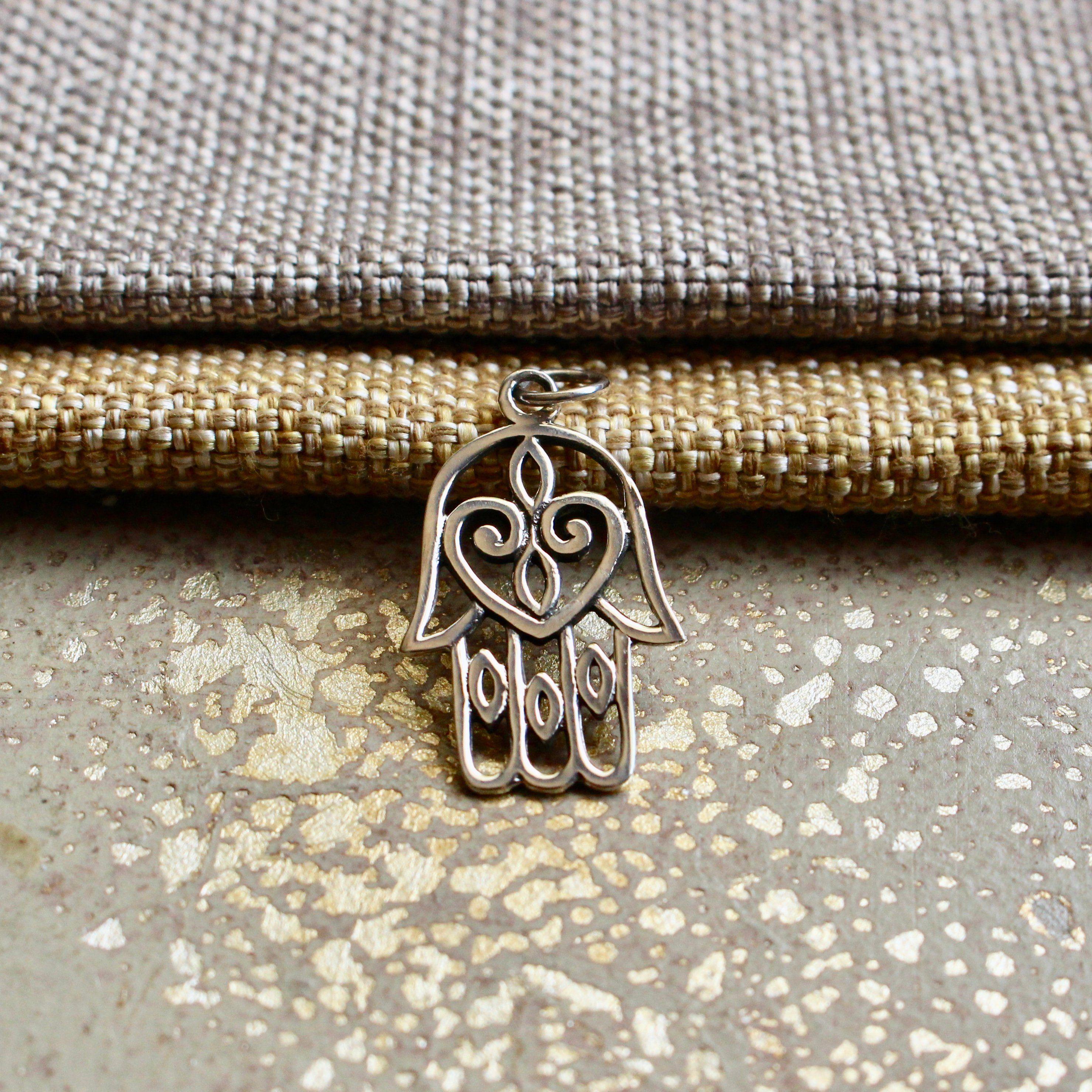 Pendant Necklace Gift Hamsa Hand Of Fatima Spiritual Yoga 925 Sterling Silver