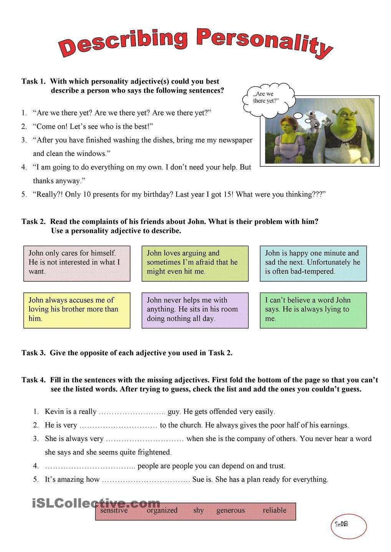 worksheet Esl Personality Worksheet describing personality english lessons pinterest worksheet free esl printable worksheets made by teachers
