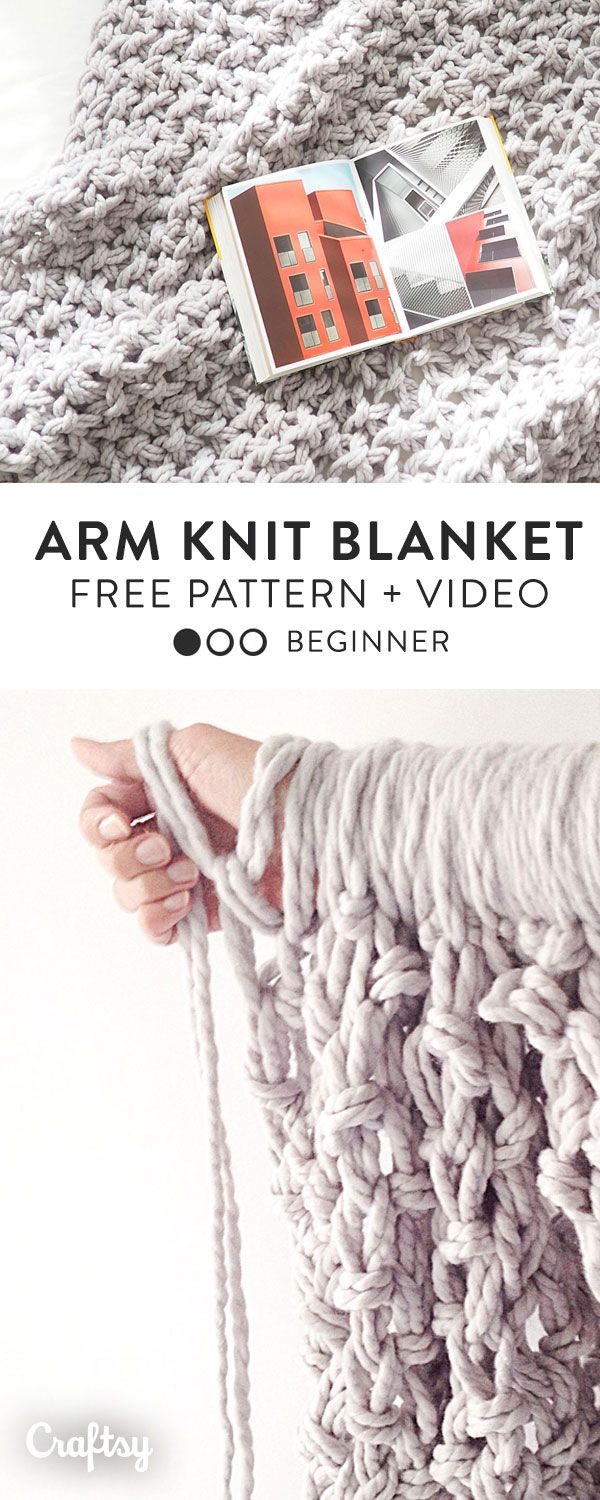 Make your own chunky, arm knit blanket with this free knitting ...
