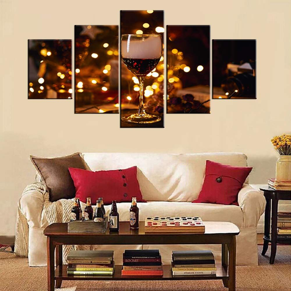 Tumovo Wall Decorations For Living Room Red Wineglass Pictures Golden Light Paintings 5 Panel Canvas Wall House Decor Modern Wine Wall Art Living Room Pictures #red #paintings #for #living #room
