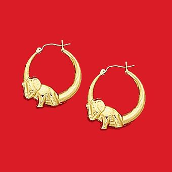 10Kt Yellow Gold Door Knocker Elephant Hoop Earrings #EBAG1666 $195.00