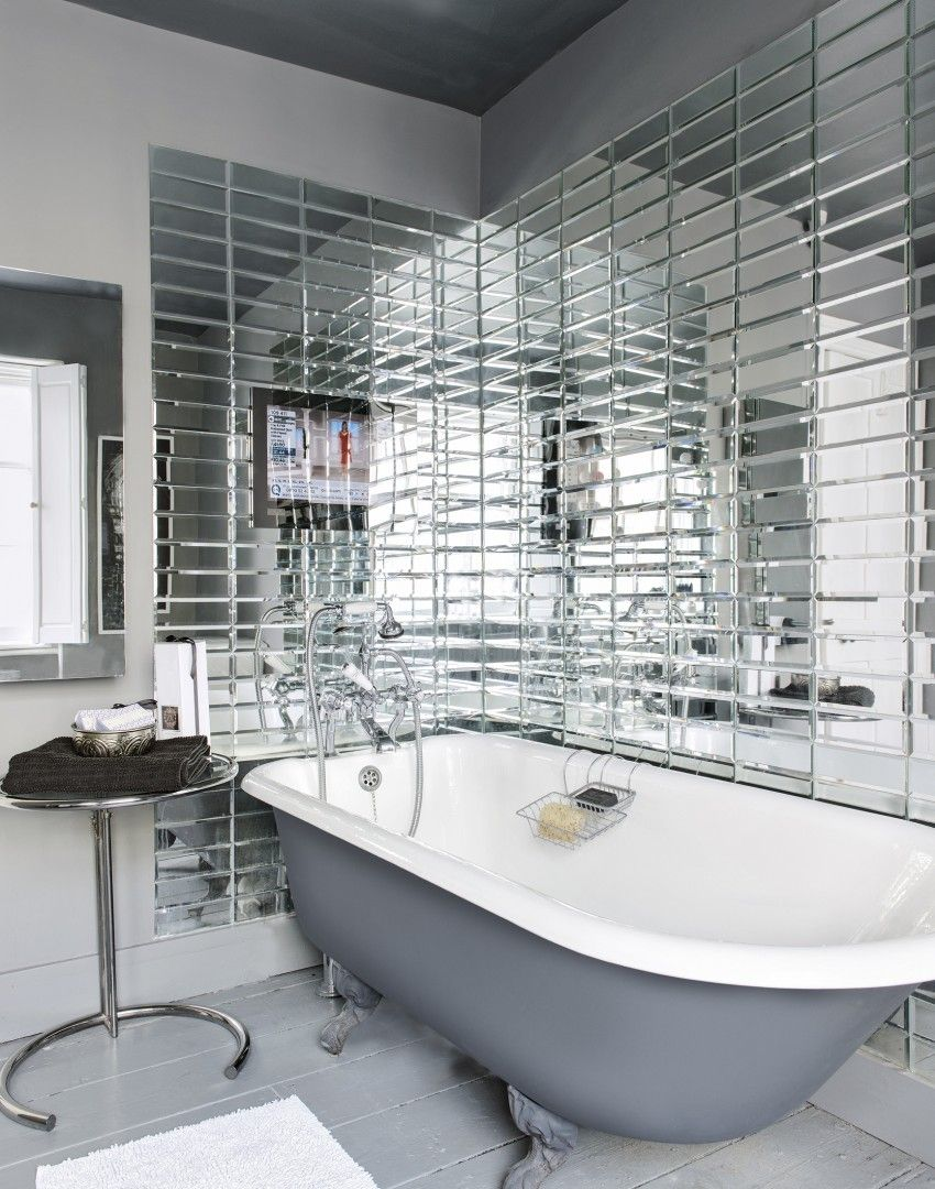 Glamorous Bathroom with Fabulous Mirrored Tiles | Squeaky Clean ...
