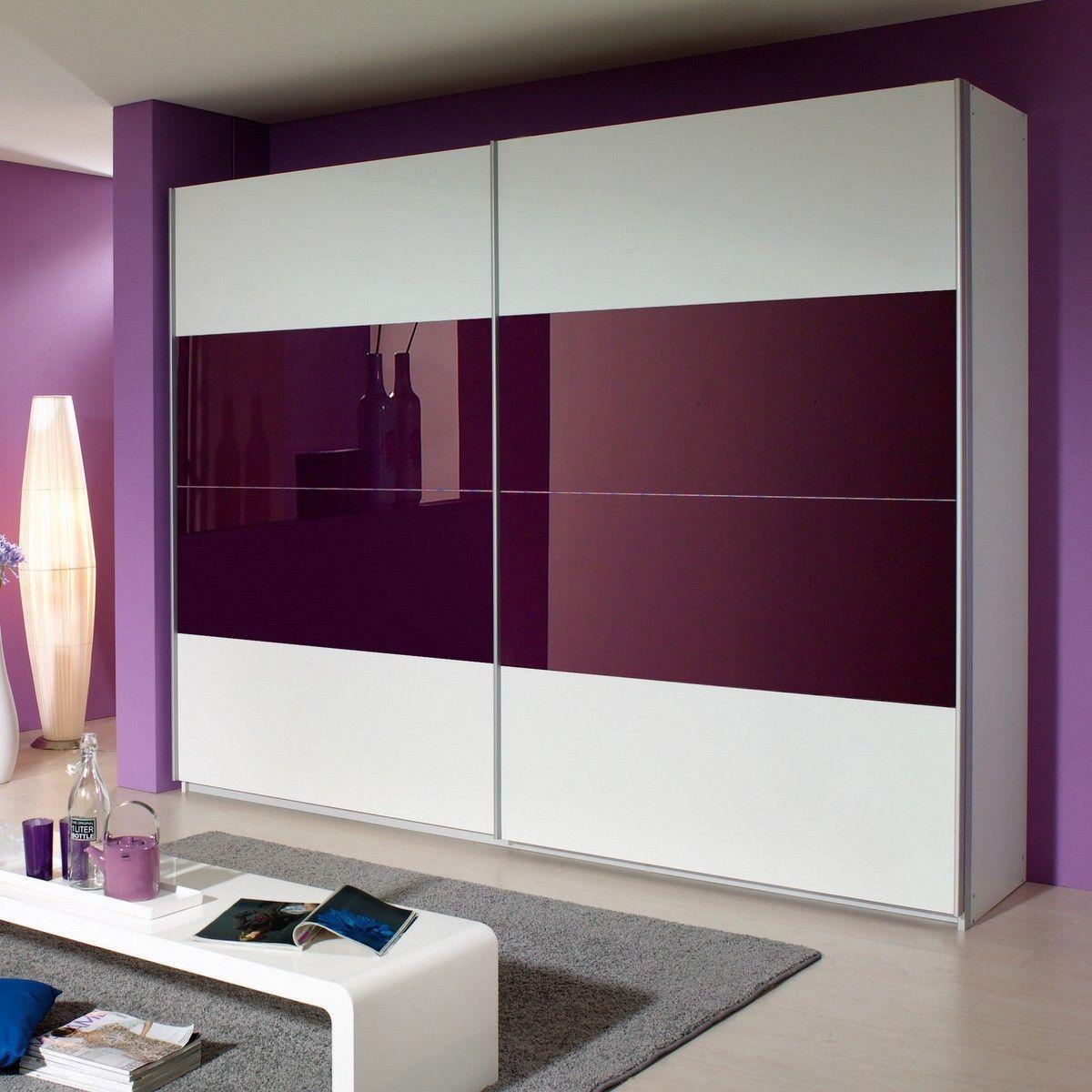 Schwebetürenschrank Quadra in Weiß / Lila 226 cm | Wardrobe design ...