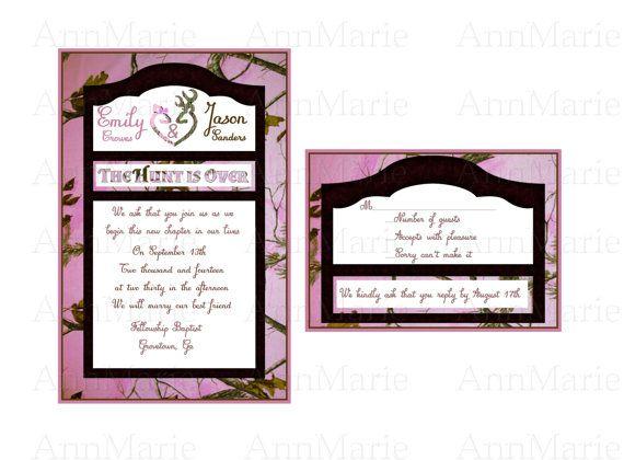 Realtree Pink Camo Wedding Invitation Camo By Annmariedsgns Long