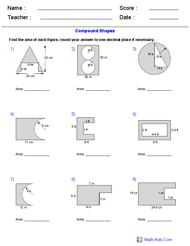 Area of Compound Shapes Subtracting Regions Worksheets | matikka ...
