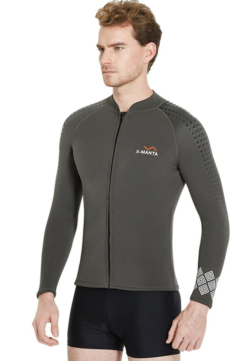 Canoeing - Dive Jacket Men Wetsuit Long Sleeve Top 3mm Neoprene Front Zipper  Suits Warm Stretchable Surfing Swimwear   Click photo to examine even more  ... 9656e7337