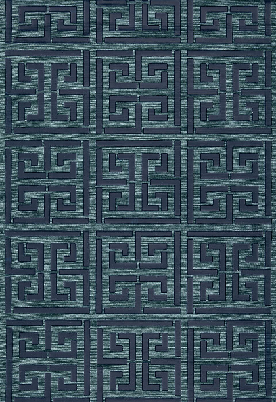 wallcovering  wallpaper  greek key sisal in peacock  schumacher  - wallcovering  wallpaper  greek key sisal in peacock  schumacher