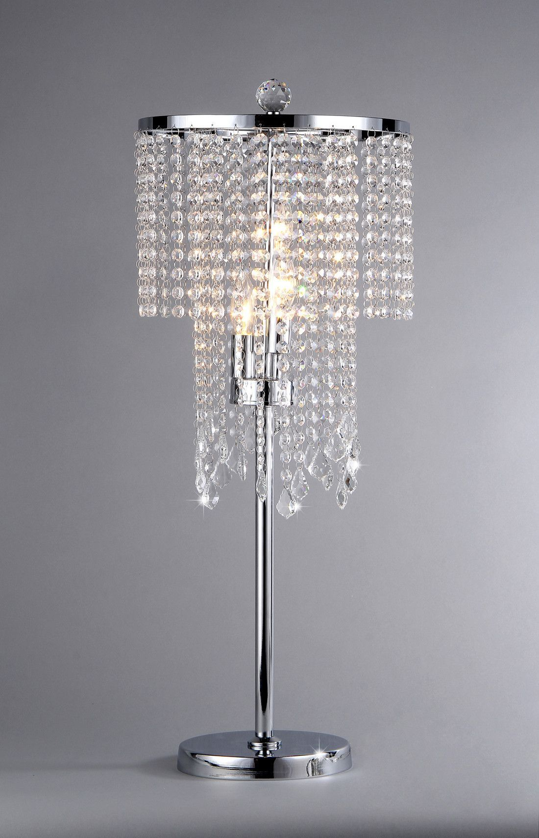 32 Contemporary Silver Crystal Bead Chandelier Looktable Lamp
