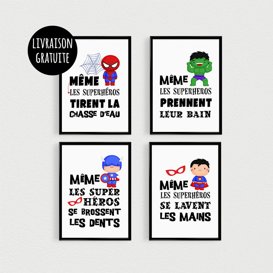 Promo Set Of 4 Posters 21x30cm Quotes Superhero Kids Have Peeling