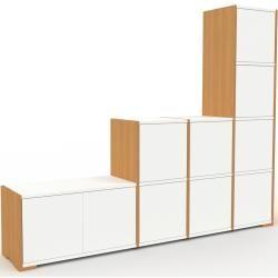 Photo of Regalsystem Eiche – Flexibles Regalsystem: Türen in Weiß – Hochwertige Materialien – 193 x 158 x 35