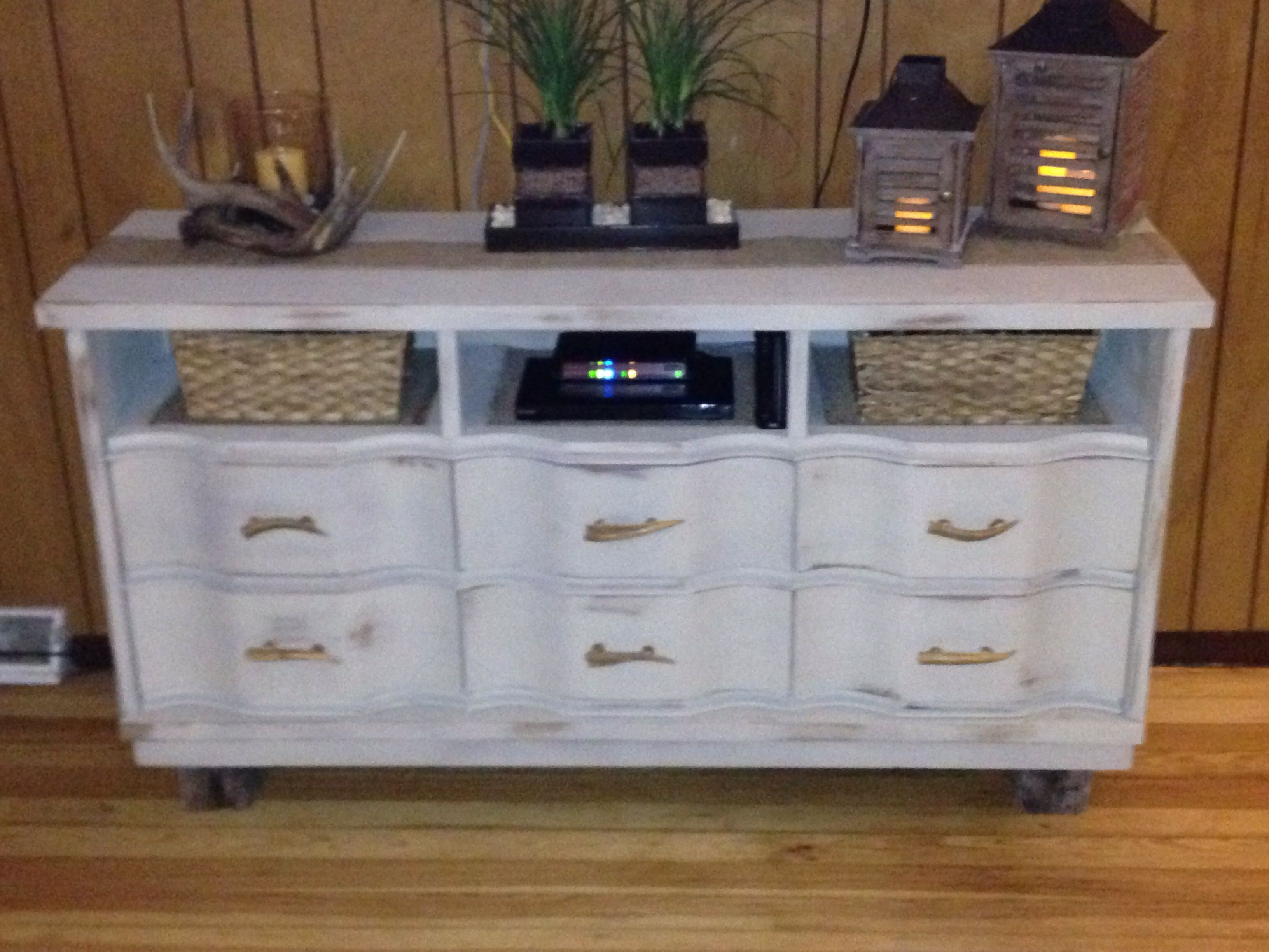 diy old dresser to tv stand makeover painted and distressed and also added reclaim lumber for