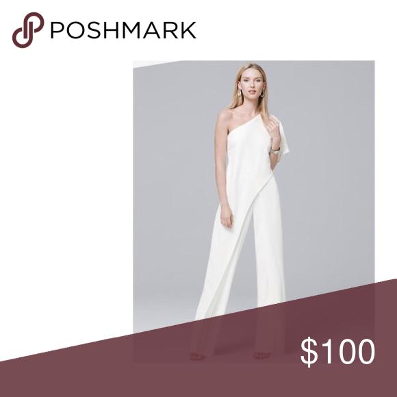 Adriana Papell White Jumpsuit Never Worn In 2018 My Posh Picks