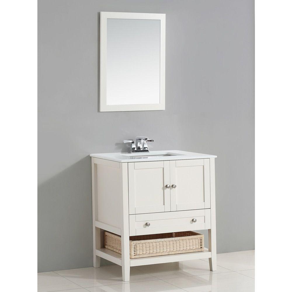WYNDENHALL Belmont 30-inch White Bath Vanity With White Quartz