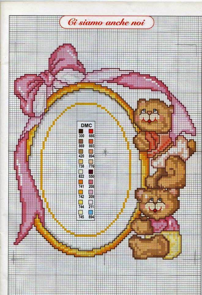 Schema punto croce Quadretto nascita bimba | Hobby lavori femminili - ricamo - uncinetto - maglia