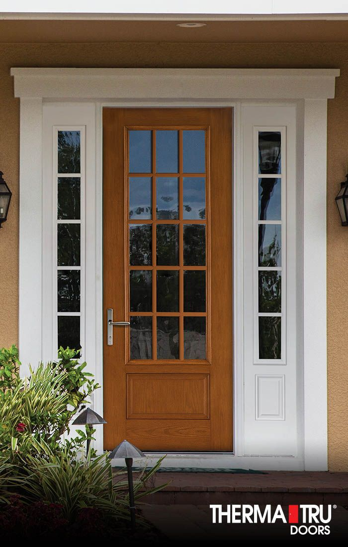 "Best of Therma Tru 8 0"" Fiber Classic Oak Collection fiberglass door with clear glass and simulated divided lites Trending - Cool outside door with window New Design"
