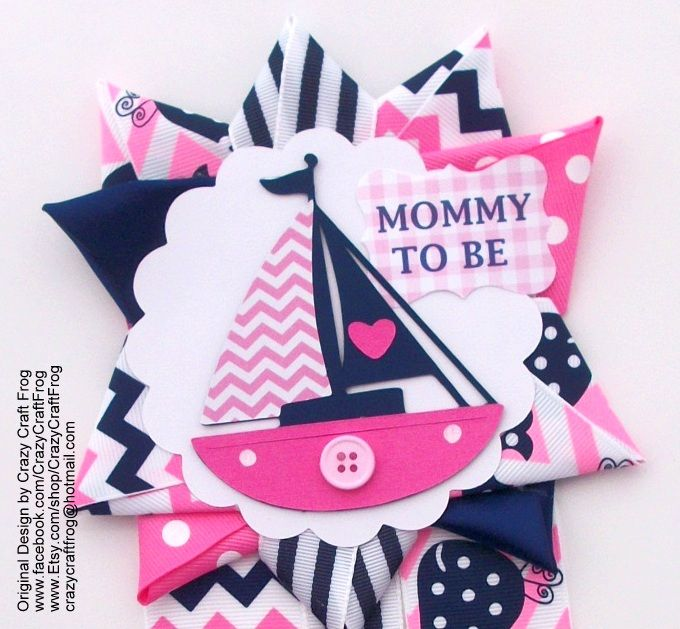 Nautical Girl Baby Shower Corsage In Pink And Navy Chevron By Crazy Craft  Frog #nauticalgirlbabyshowercorsage
