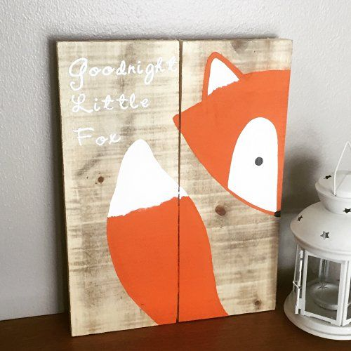 10x14 Goodnight Little Fox Wood Sign Nursery Decor Baby Shower Gift Or