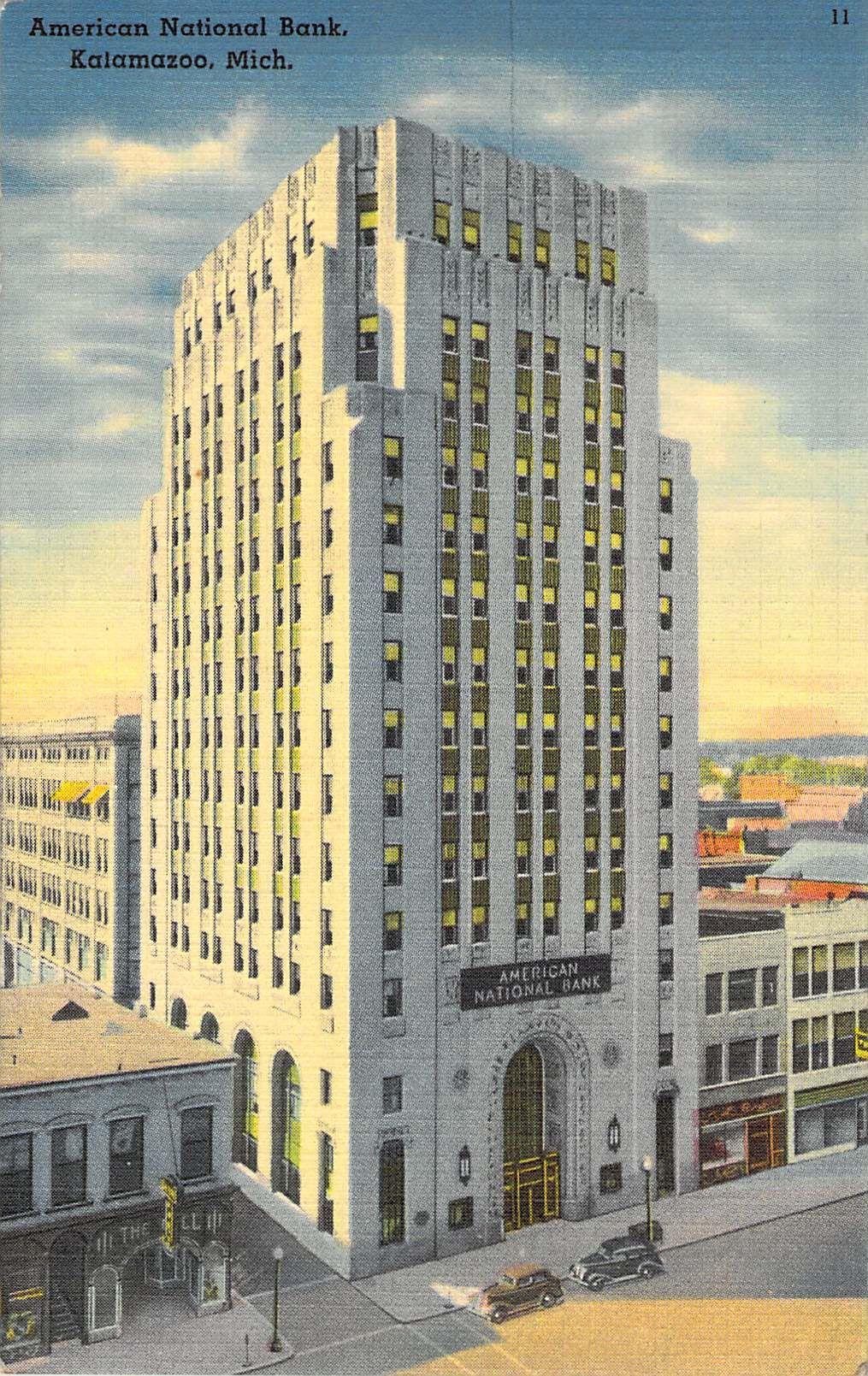 American National Bank Kalamazoo Mi Chicago Art Skysers Banks Vintage