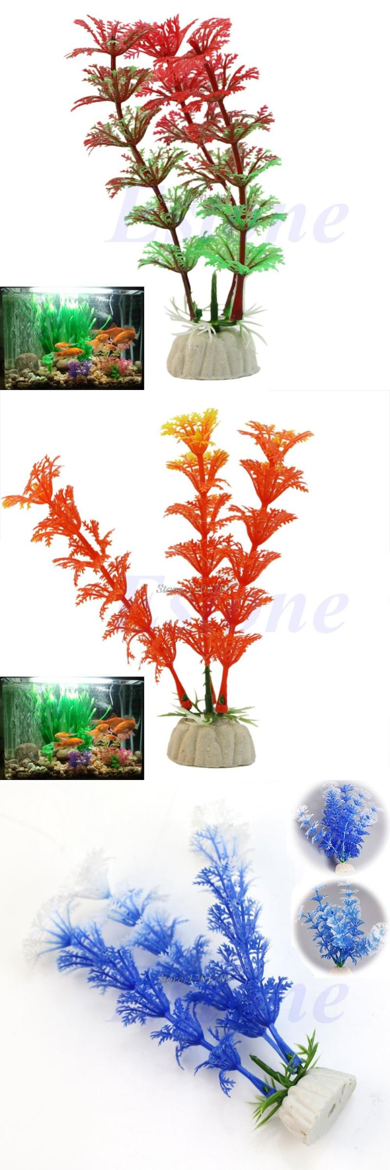 [Visit to Buy] Free shipping 2pcs Artificial Grass Plastic Water Plant For Aquarium Decoration Fish Tank Ornament #Advertisement