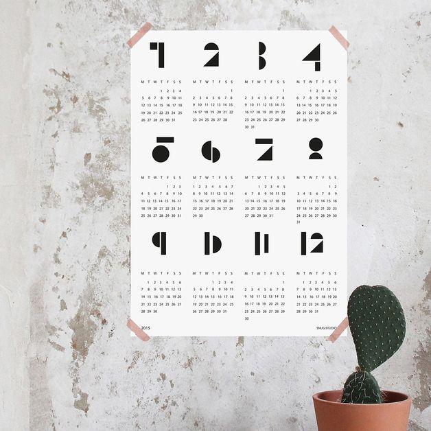 wandkalender kalender 2015 snug toyblocks weiss ein designerst ck von snug studio bei. Black Bedroom Furniture Sets. Home Design Ideas