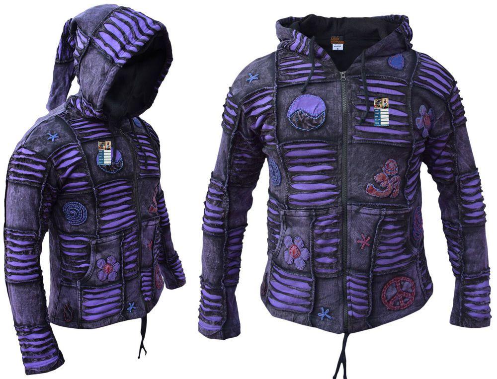 Details about Men Purple Jacket Psychedelic Gothic Fleece
