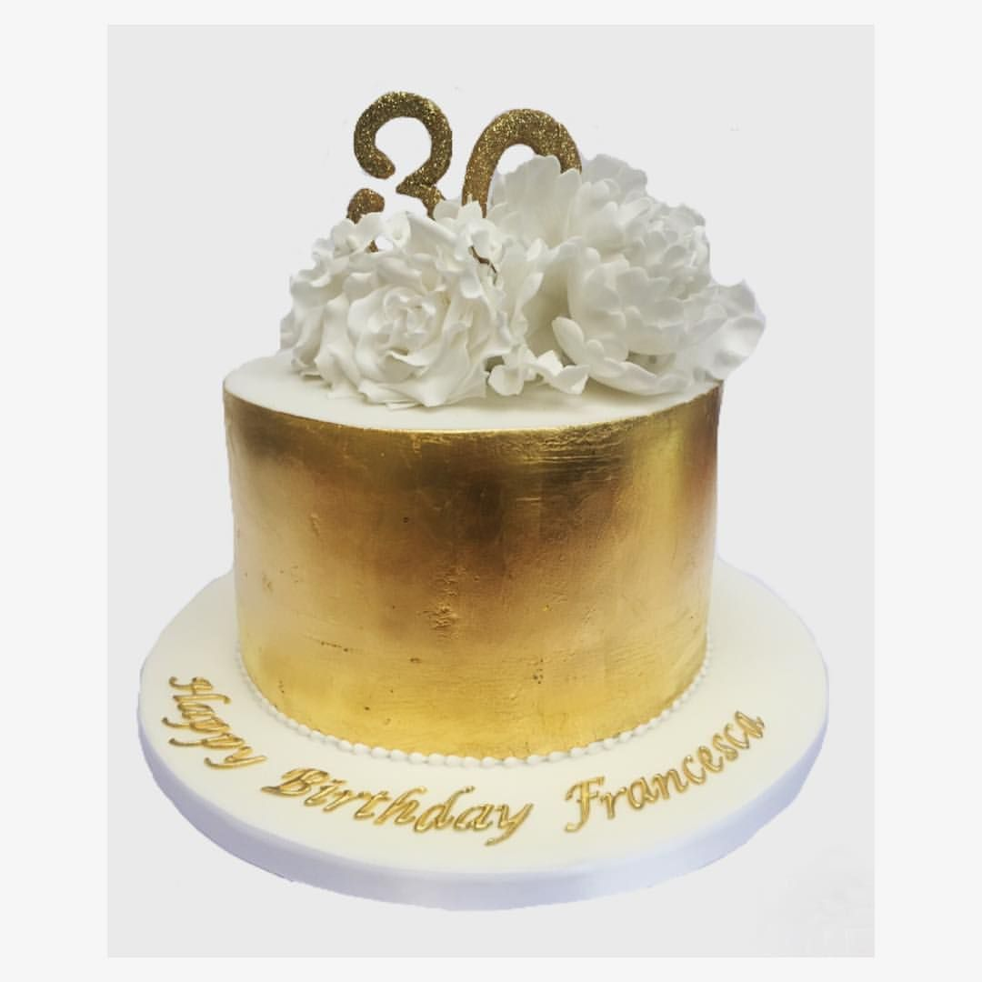30th gold birthday cake with gold leaf roses and peonies Sweet