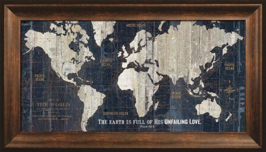 Rustic inspirational world map wall art framed wood print featured rustic inspirational world map wall art framed wood print featured verse earth unfailing love old high gumiabroncs Choice Image