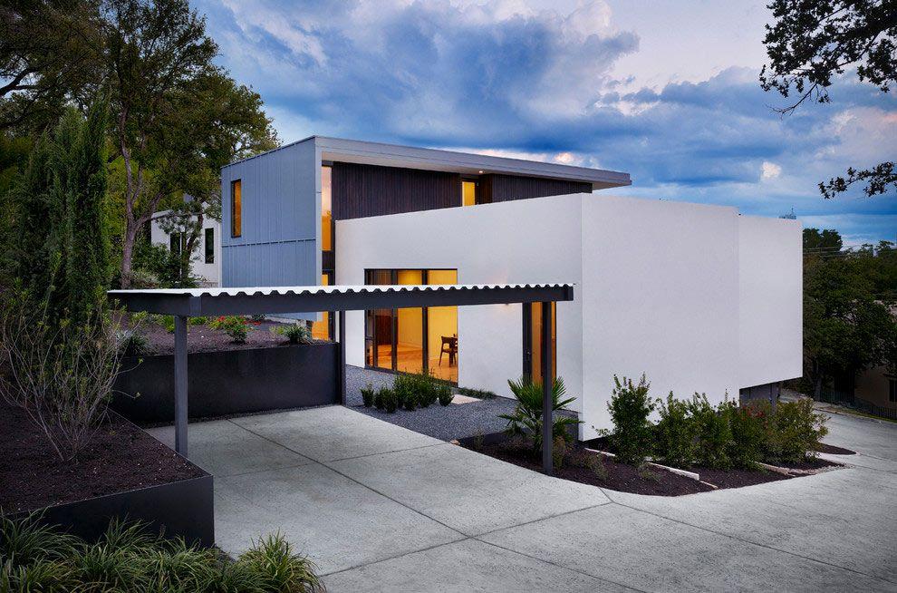 Hausbau ideen mit garage  Toller Carport mit Wellblech Dach als Auto Unterstellplatz ...