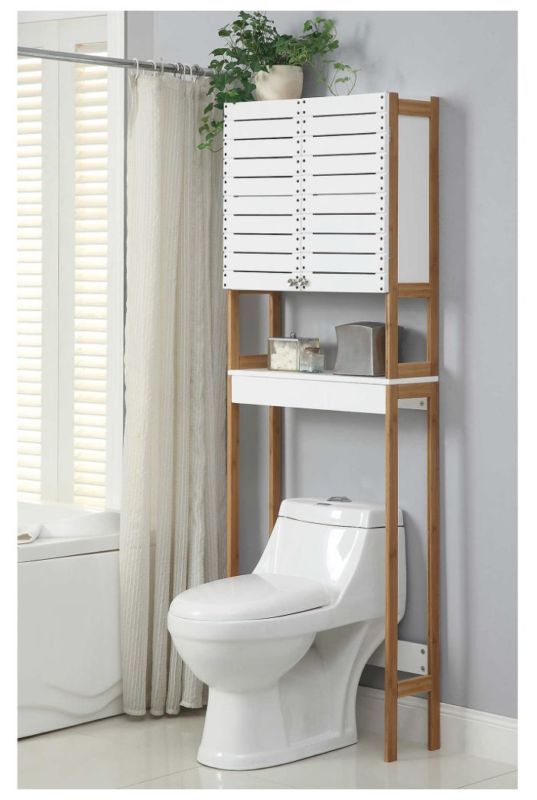 Bathroom Space Saver White Bamboo Wood Shelves Storage Toilet Rack