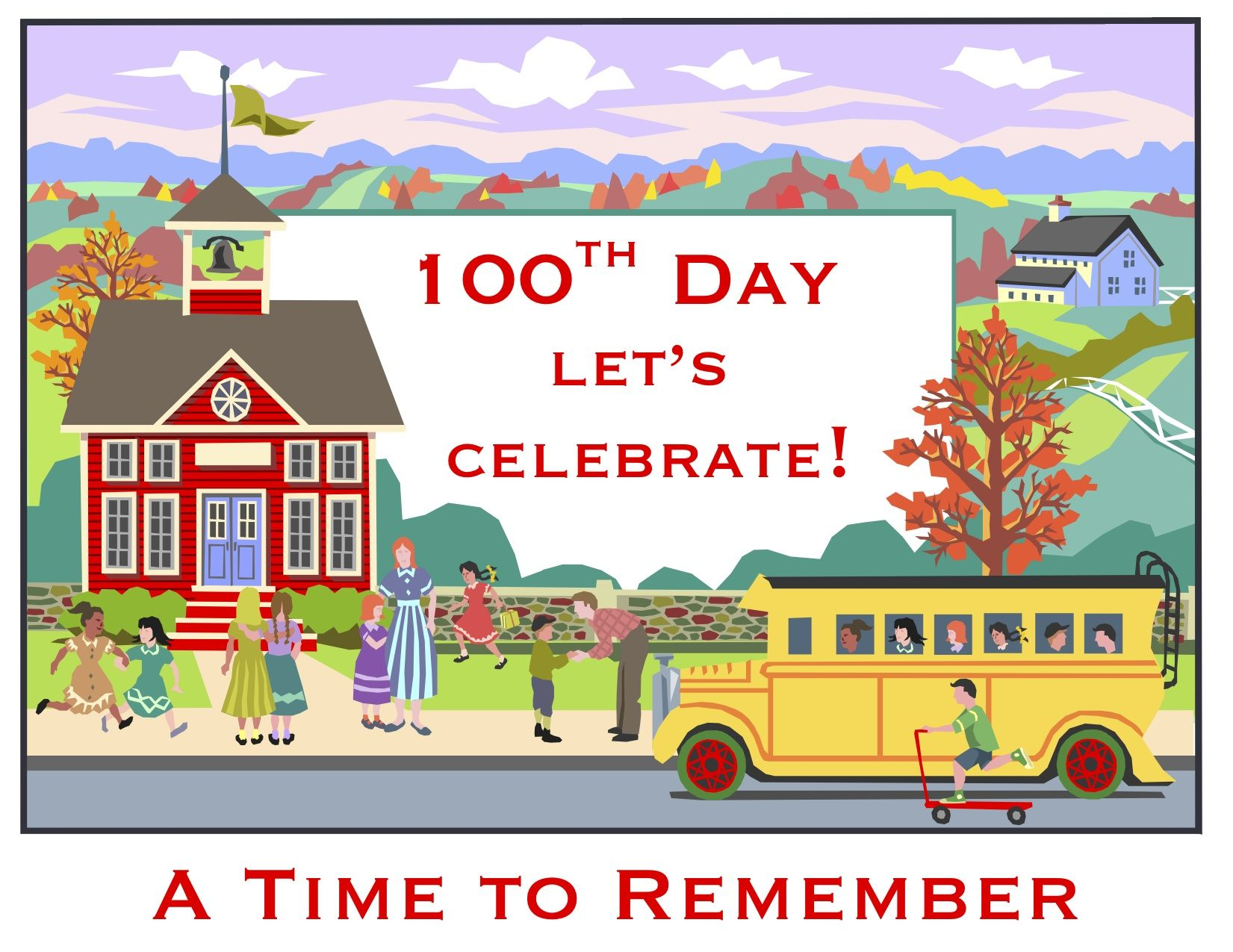 100th Day Of School Poster In Fun Old Fashioned School