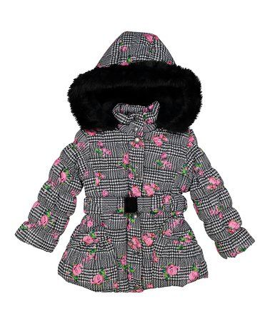 d15612eae9fa Look what I found on  zulily! Gray Floral Print Belted Puffer Coat ...