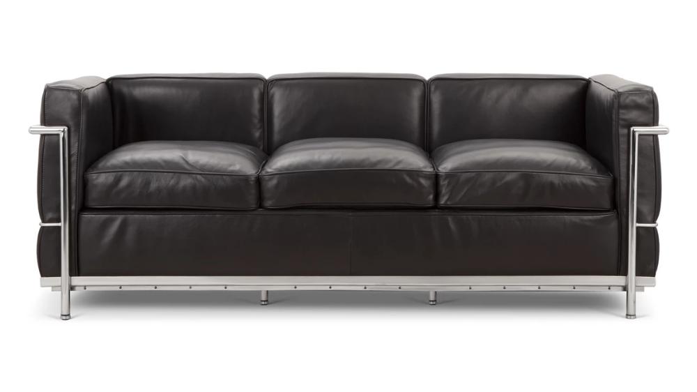 Corbusier Sofa Corbusier Style Three Seater Sofa Black Premium Leather Three Seater Sofa Seater Sofa Sofa
