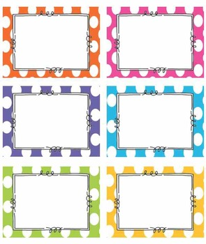 EDITABLE BRIGHT Polka Dot Tags Label Classroom Labels