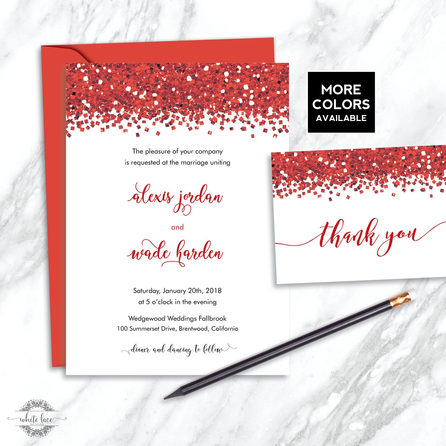 Modern Sequin Wedding Invitations Vignette - Invitations and ...