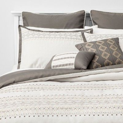 8pc Queen Sela Embroidered Comforter Set Gray Comforter Sets