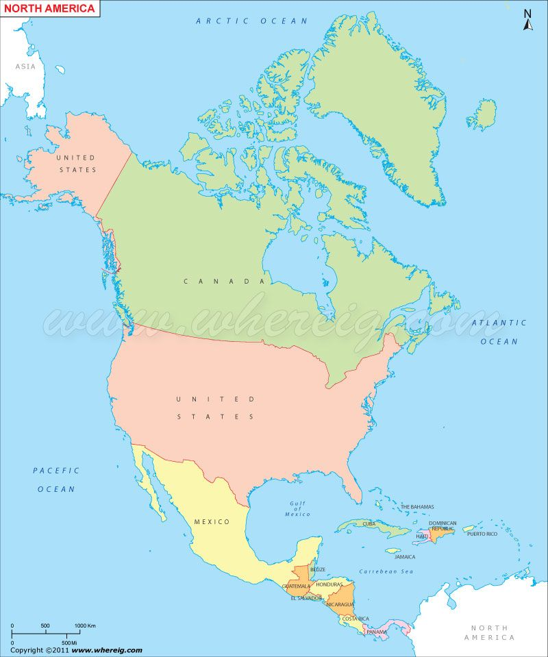 Find Map Of North America With Countries Cities Usa States Capitals Roads Highways And Travel Information About Us