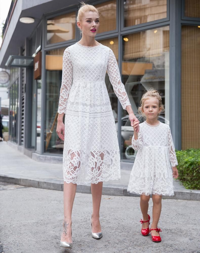 5f4814a718d2 Mother Daughter Dresses 2016 European Style Mom And Me White Lace Matching  Dress Mother And Maughter Clothes For Party B024 Mom And Me Matching Outfits  ...