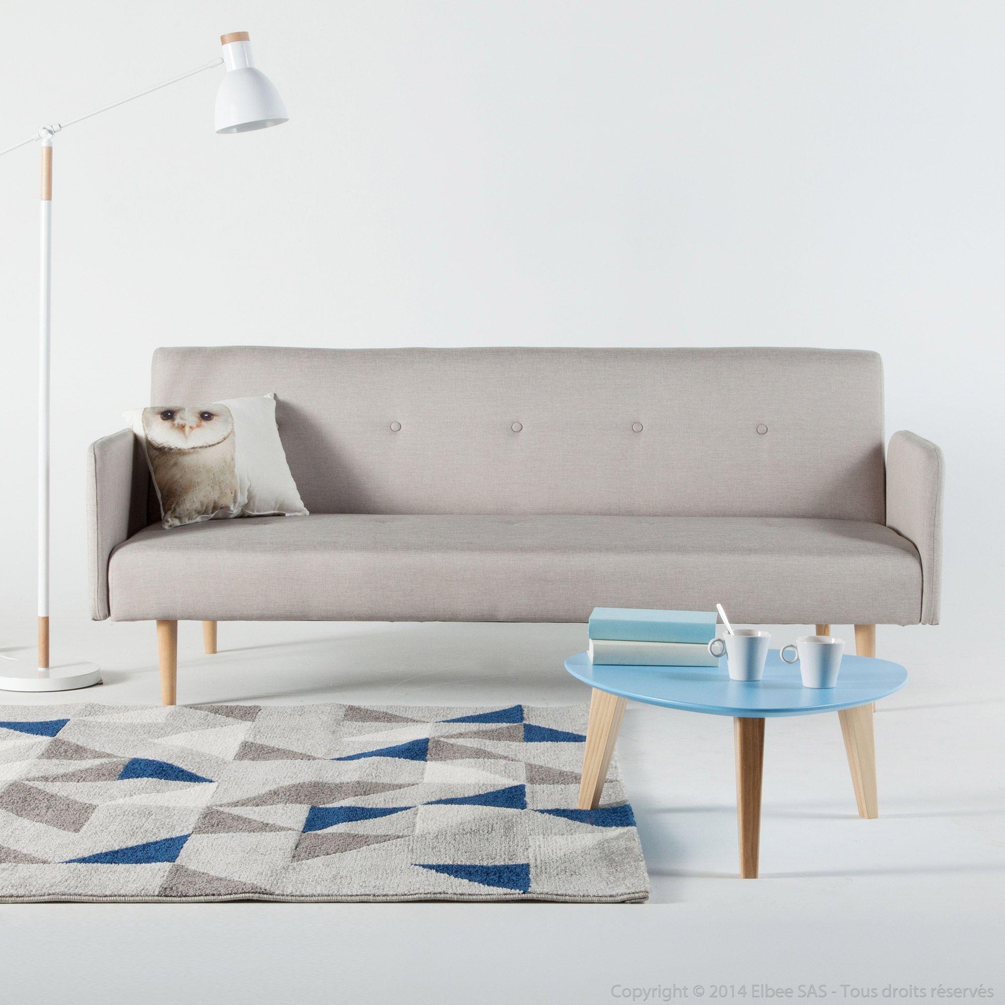 canapé clic-clac tissu 2 places pieds bois design lauretta | déco