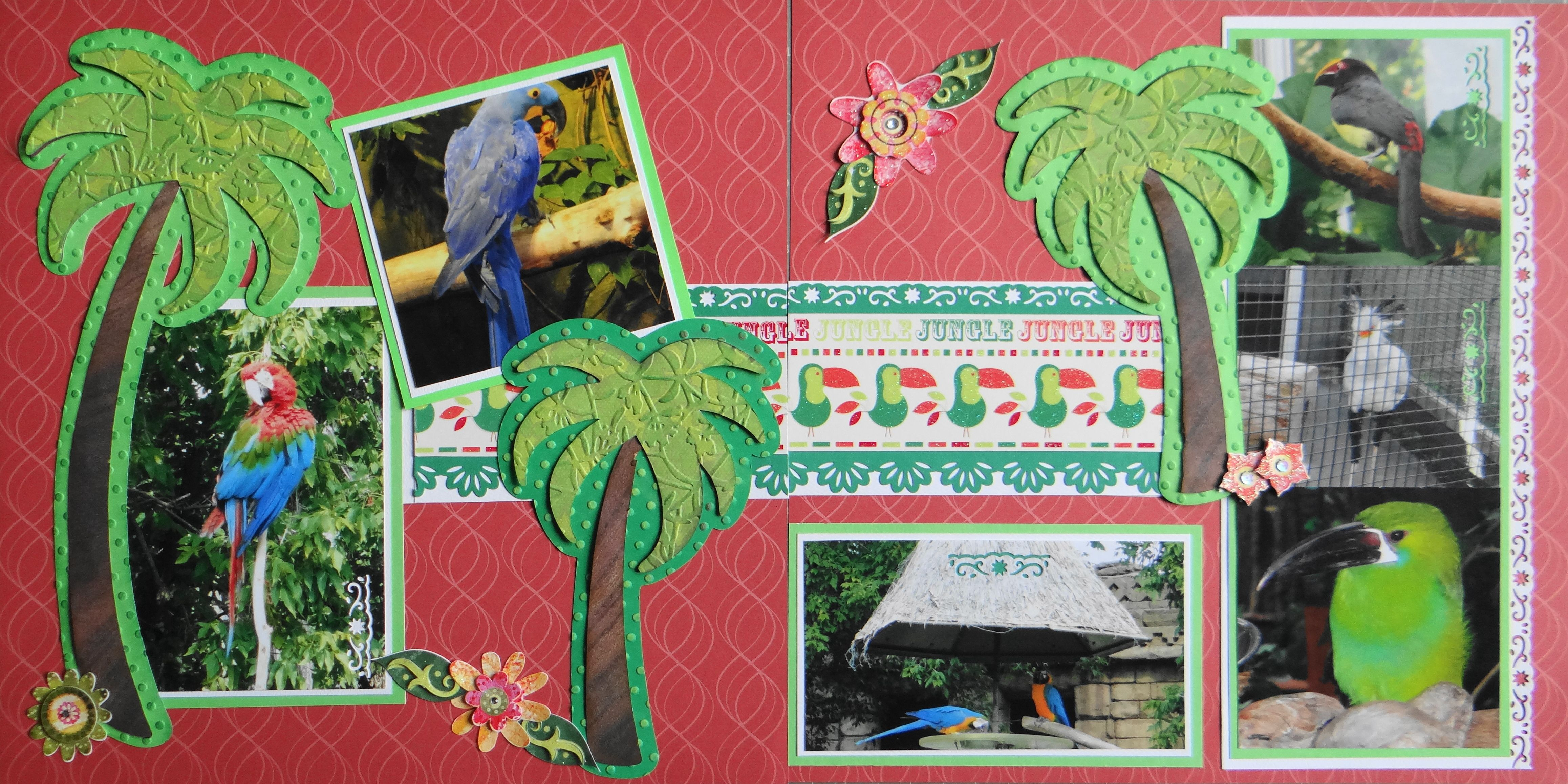 Scrapbook ideas zoo - Scrapbook Page Tropical Birds At The Zoo 2 Page Animal Layout With A Palm