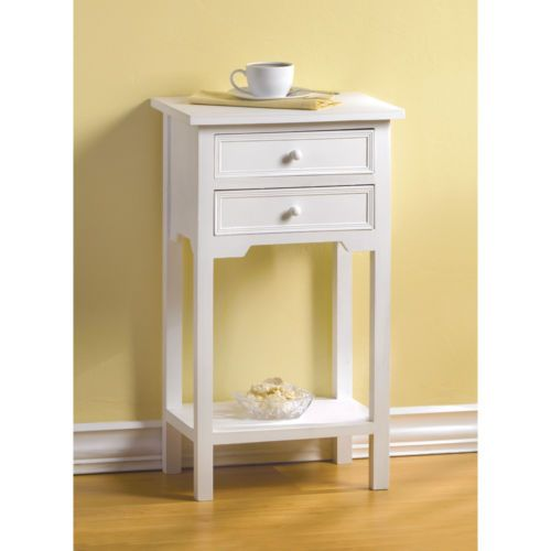 Simple White Night Stand Side End Table Office Shelf 2 Drawer