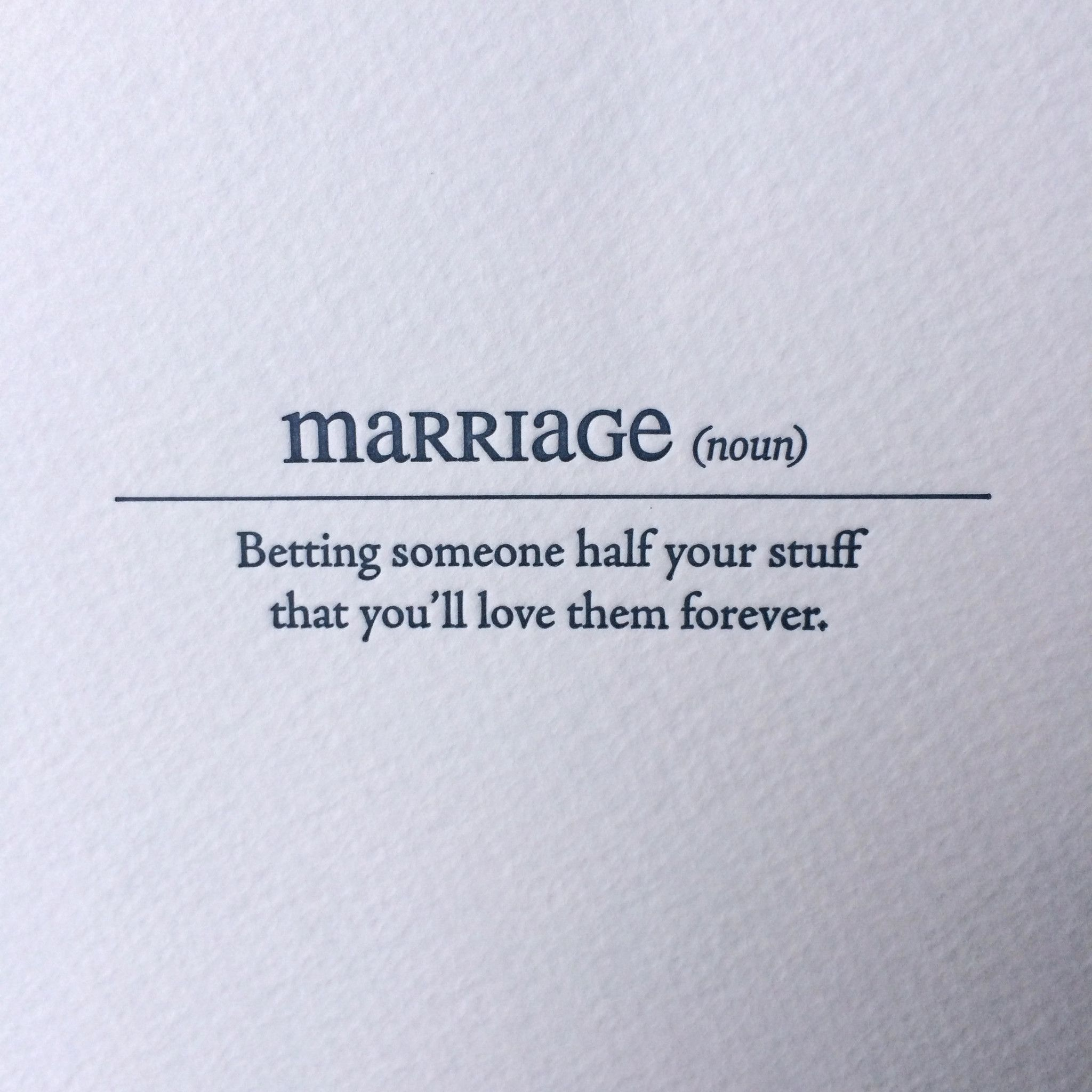 Marriage Letterpress Card Funny Quotes Marriage Quotes Quotes