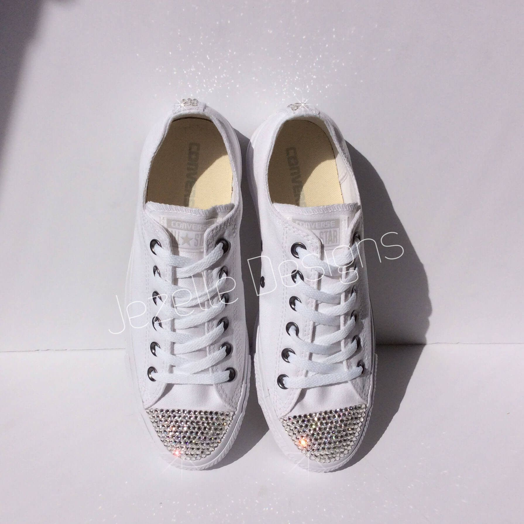 Womens ALL White Bedazzled Converse  Glitter Converse Shoes With Genuine  Swarovski Crystals 84dcde92fbd7