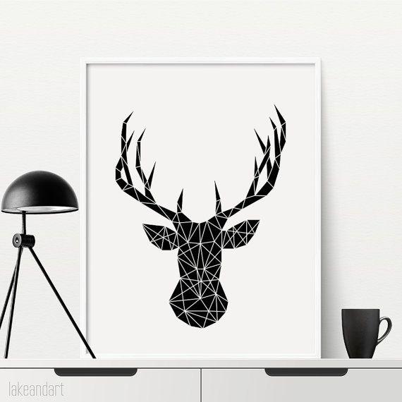 cerf t te print g om trique t te de cerf imprimable imprimer impression de mur mur deco. Black Bedroom Furniture Sets. Home Design Ideas