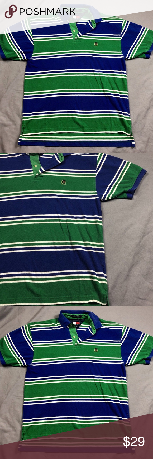 875c07be Vintage Tommy Hilfiger Mens Striped Polo Shirt Med Vintage Mens Striped  Tommy Hilfiger Polo Shirt Colors: Green / Blue / White Size: Medium pit to  pit: 22