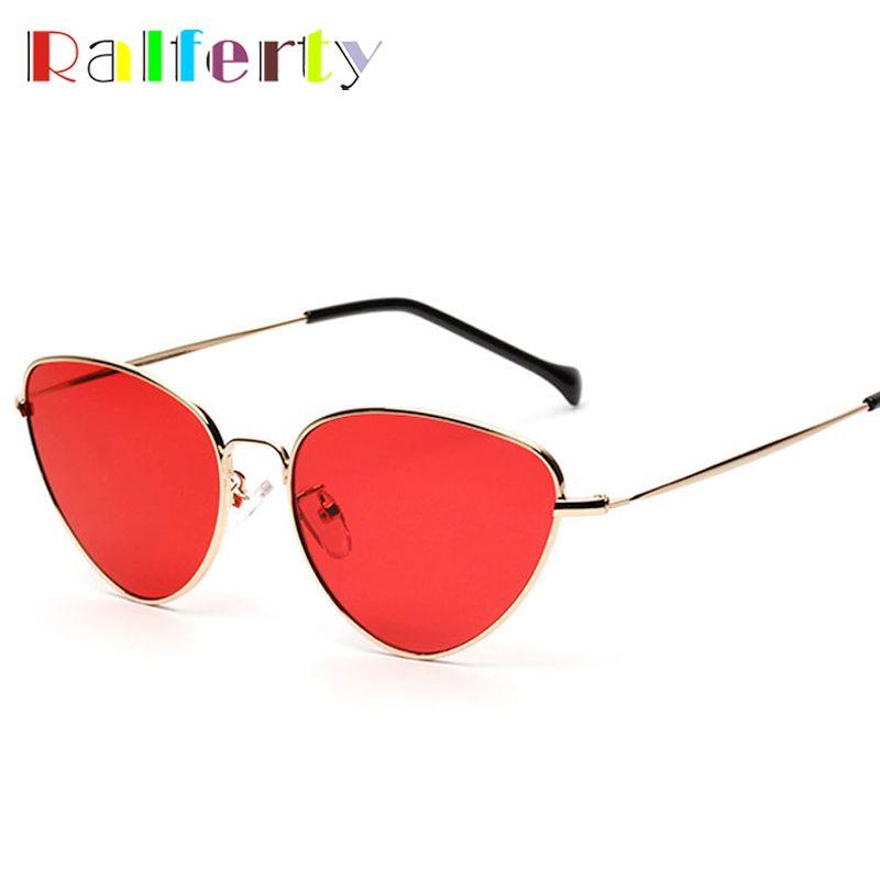 2b437ab72aa1 Ralferty 2017 Vintage Cat Eye Sunglasses Women Gold Metal Eyewear UV400 Sun  Glasses Female Red Candy Color Cateye Glasses A1747