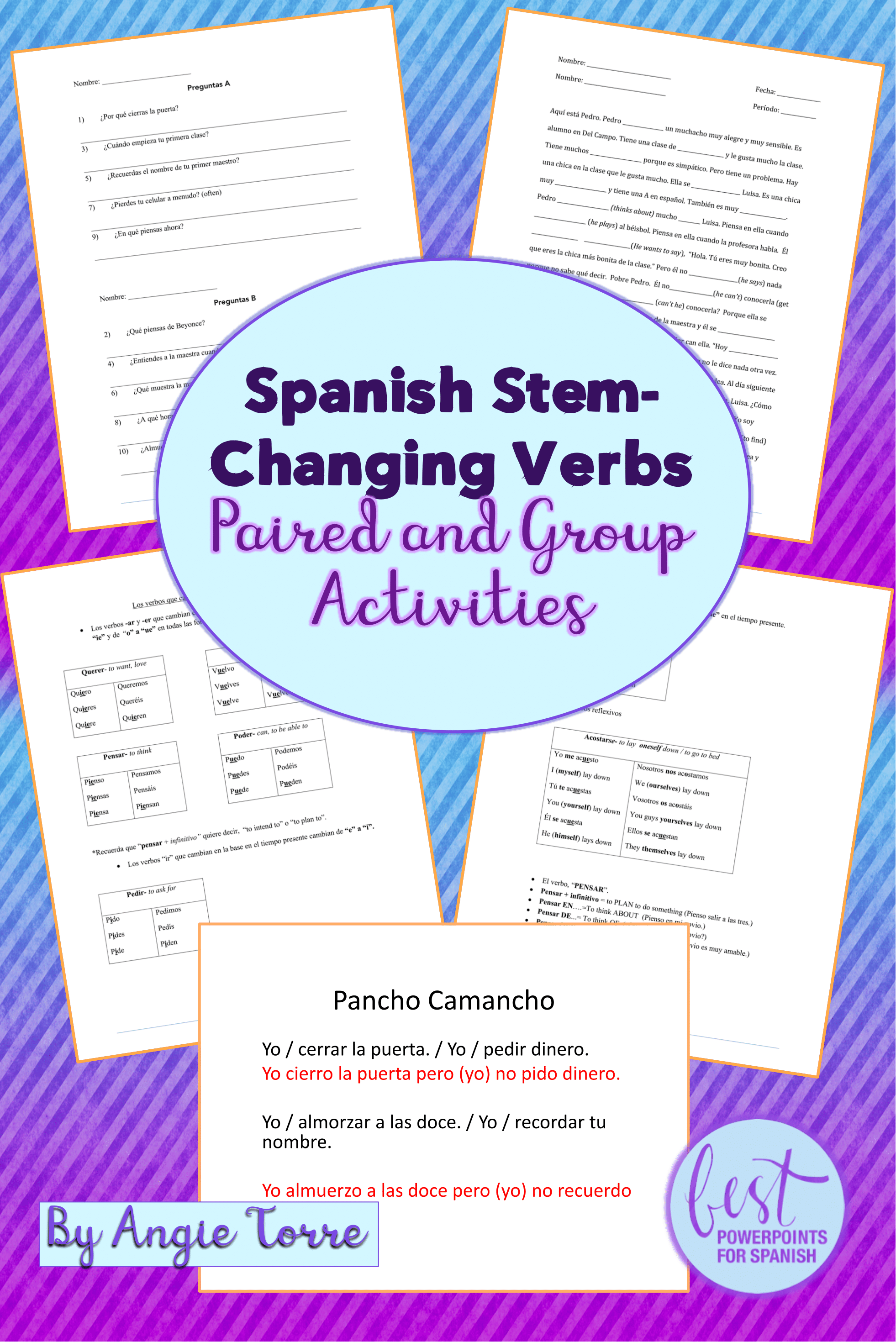 Spanish Stem Changing Verbs Paired And Group Activities