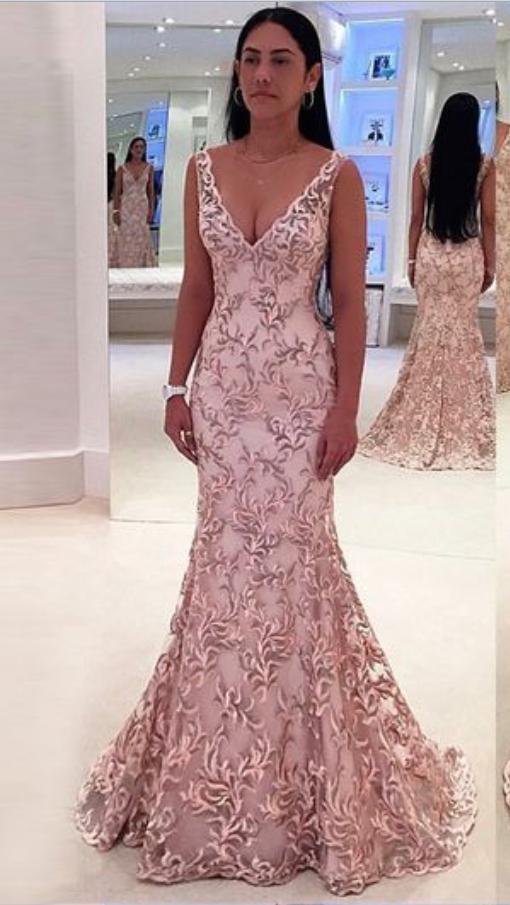 b9b2ccf00098 Mermaid Deep V-Neck Sweep Train Pink Lace Backless #prom #promdress #dress  #eveningdress #evening #fashion #love #shopping #art #dress #women #mermaid  #SEXY ...